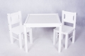 wood set DREWEX table with two chairs for childrens WHITE color